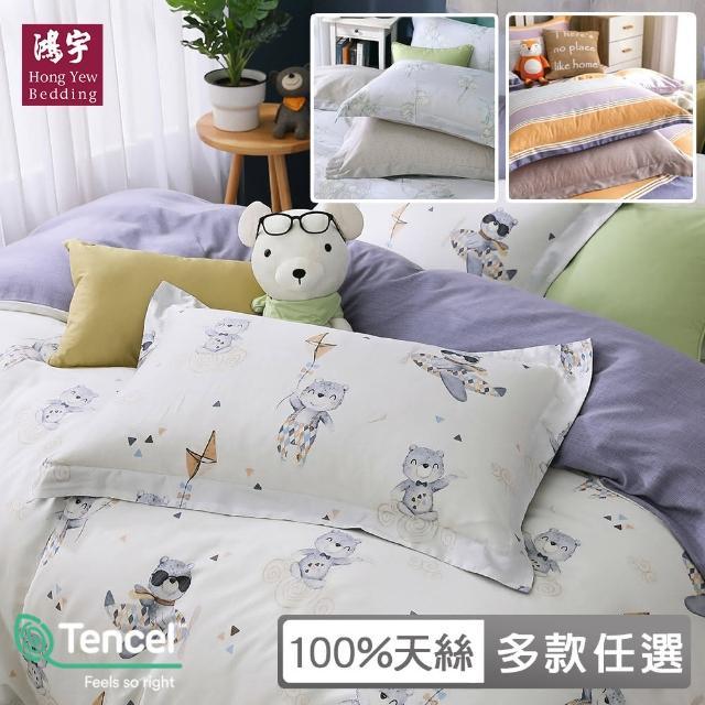 【HongYew 鴻宇】歐式壓框薄枕套2入 天絲300織 台灣製(多款任選)