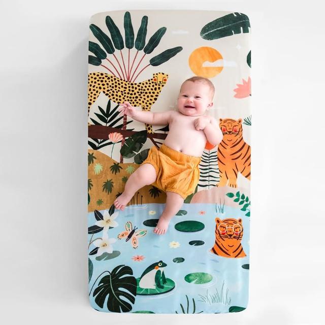 【美國RookieHumans】嬰兒床純棉絲柔床包(叢林探險)