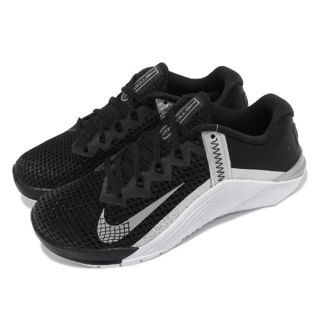【NIKE 耐吉】訓練鞋 Metcon 6 運動 女鞋 健身房 支撐 穩定 包覆 重訓 球鞋 黑 銀(AT3160-010)