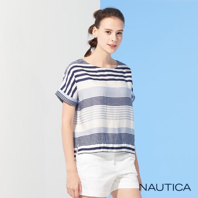 【NAUTICA】女裝撞色橫條紋短袖上衣(藍)