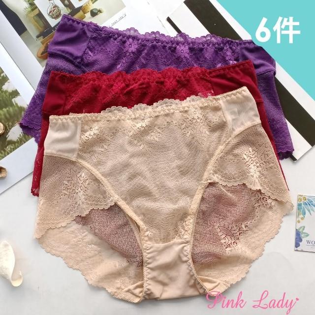 【PINK LADY】性感透膚蕾絲內褲 古典巴洛克 中高腰無痕內褲(6件組)
