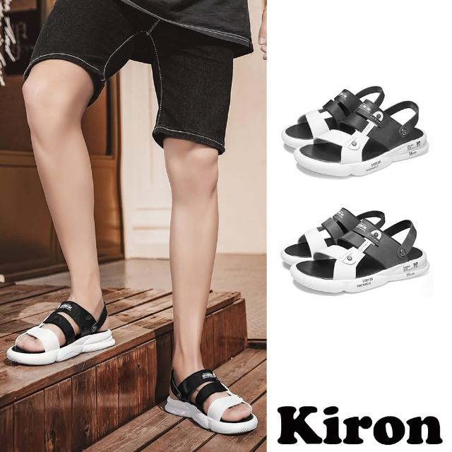 【Kiron】平底涼鞋 兩穿涼鞋/兩穿法潮流復古拼接休閒平底涼拖鞋-男鞋(2色任選)