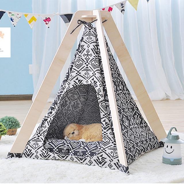 【寵物愛家】福利品-火箭平頂波普印象設計款寵物帳蓬(寵物帳篷)