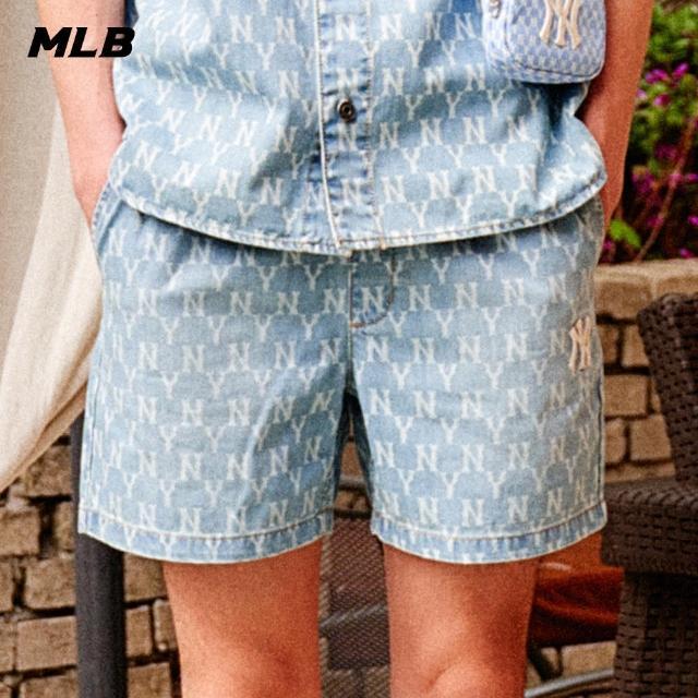 【MLB】牛仔休閒褲 丹寧短褲 鬆緊帶腰頭 老花Monogram系列 紐約洋基隊(31DPU1131-50U)