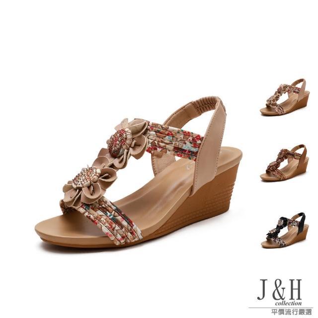 【J&H collection】法式涼夏一字帶花朵高跟涼鞋(現+預 杏色 / 棕色 / 黑色)
