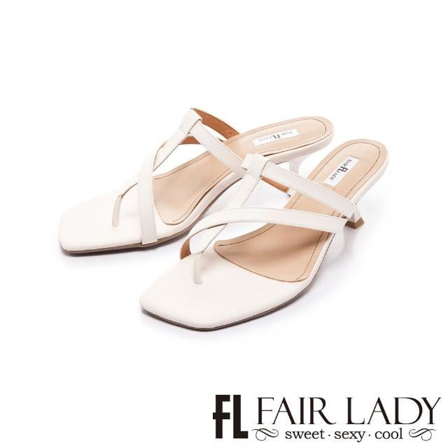 【FAIR LADY】初夏 質感簡約線條夾腳小貓跟拖鞋(白、202401)