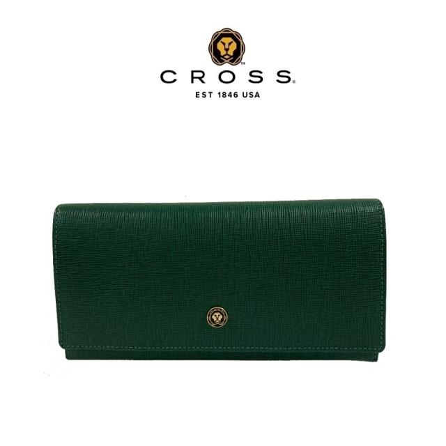 【CROSS】頂級NAPPA小牛皮十字紋鈕扣拉鍊長夾(墨綠色 附贈原廠送禮提袋)