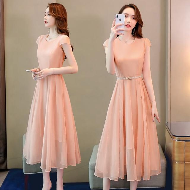【SZ】仙氣飄逸純色珍珠腰帶氣質洋裝M-2XL(共三色)