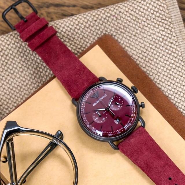 【EMPORIO ARMANI】亞曼尼 公司貨 Aviator 領航魅力雙眼計時麂皮皮革腕錶/紅x黑針(AR11265)