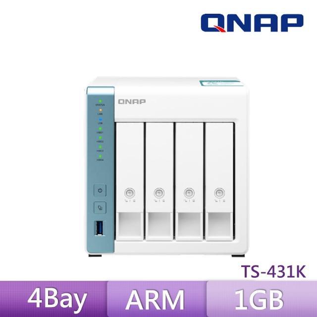 【搭WD 4TB Plus x4】QNAP 威聯通 TS-431K 4Bay NAS 網路儲存伺服器
