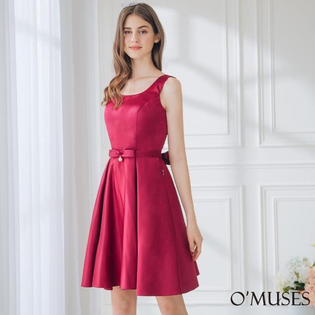 【OMUSES】簡約緞布伴娘紅色短禮服18-1920(S-2L)