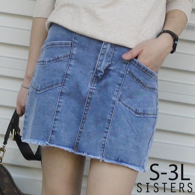【SISTERS】瘦瘦感!復古刷痕彈力牛仔褲裙 短裙/S-3L(牛仔裙/褲裙/短裙)