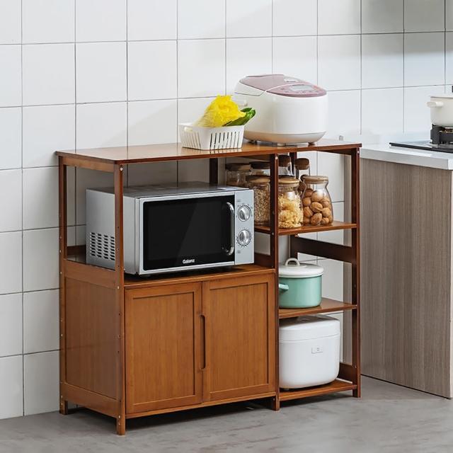 【職人家居】楠竹開放式餐廚收納架 寬99公分 1073(餐櫥櫃 餐具櫃 廚房收納櫃 置物櫃 電器櫃 家電架)