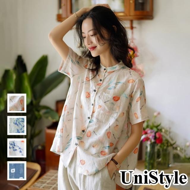 【UniStyle】原創設計師款 優質棉麻中國風寬鬆顯瘦短袖上衣 女 FA5540(寶藍/杏粉/藏青/淺灰藍)