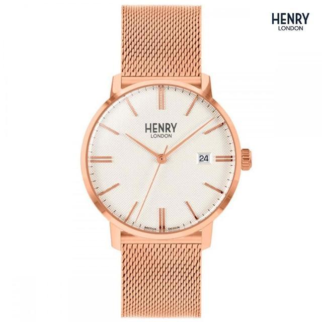 【HENRY LONDON】英國品牌 白紋路面 玫瑰金米蘭錶帶腕錶(HL40-M-0374)