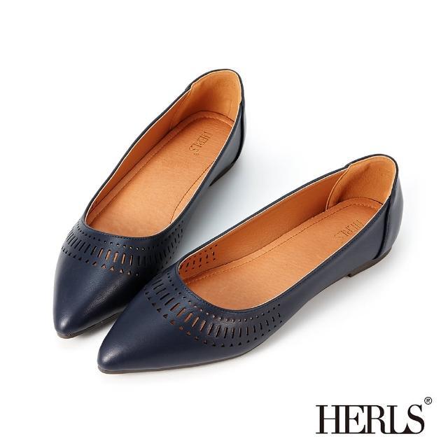【HERLS】平底鞋-幾何沖孔造型尖頭平底鞋(深藍色)