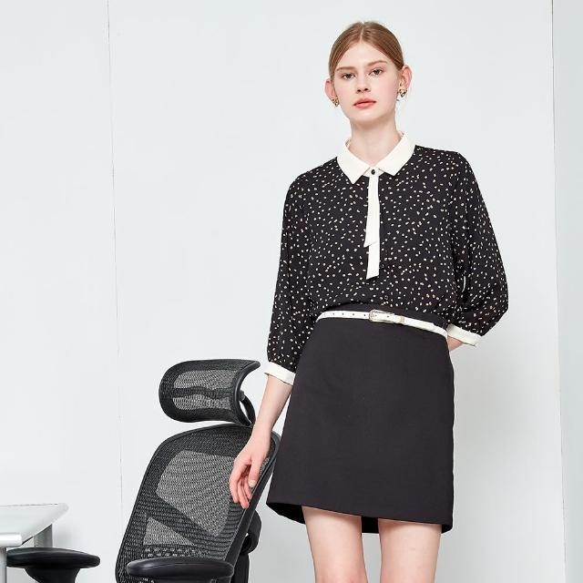 【MASTINA】印花拼接可拆式領結-女長袖襯衫(二色/版型適中)