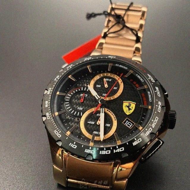 【Ferrari 法拉利】FERRARI法拉利男錶型號FE00001(黑色錶面玫瑰金錶殼玫瑰金色精鋼錶帶款)