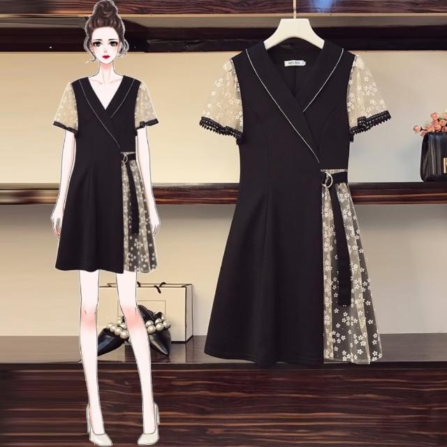 【KVOLL】時尚領拚接優雅花紗蕾絲腰帶收腰洋裝L-4XL