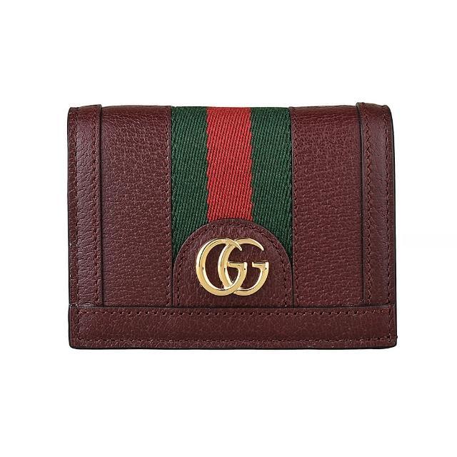【GUCCI 古馳】GUCCI Ophidia 雙G LOGO綠紅綠織帶設計豚皮4卡扣式短夾(酒紅)