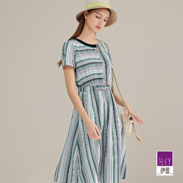 ILEY 伊蕾【ILEY 伊蕾】不規則條紋拼接印花連身洋裝1212087757(藍)
