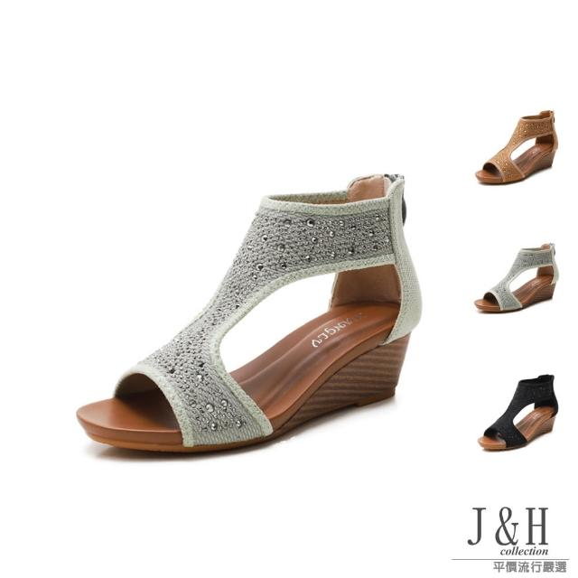 【J&H collection】優雅有型布面水鑽高跟涼鞋(現+預 綠色 / 棕色 / 黑色)