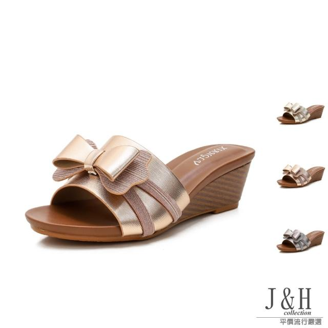 【J&H collection】優雅新款蝴蝶結高跟涼拖鞋(現+預 金色 / 香檳金 / 灰色)