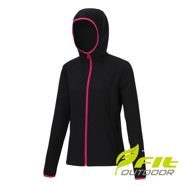 【Fit 維特】女-抗UV經典連帽防曬外套-經典黑 MS2301-79(薄外套/風衣外套/連帽外套)