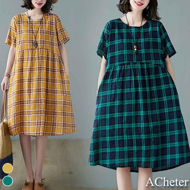 【ACheter】荷蘭鄉村風車格紋清爽寬鬆棉麻洋裝#109635現貨+預購(2色)