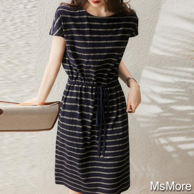 【MsMore】陽光活力女涼爽冰絲條紋寬鬆纖腰抽繩洋裝#109502現貨+預購(條紋)