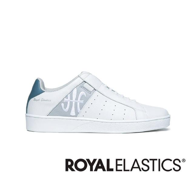 【ROYAL Elastics】ICON 白藍灰真皮運動休閒鞋(男01912-085)