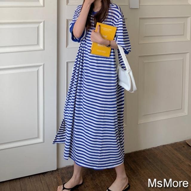 【MsMore】韓國慵懶風大碼無拘涑海軍條紋棉T洋裝#109538現貨+預購(條紋)