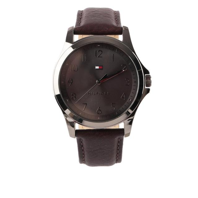 【Tommy Hilfiger】The Essentials 皮革錶帶手錶(深棕色)