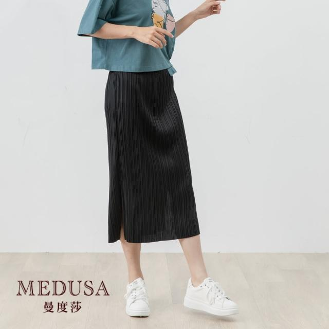 【MEDUSA 曼度莎】超彈性壓褶開衩中長裙(F) 超彈性 M-2L可穿 上班穿搭(601-83504)