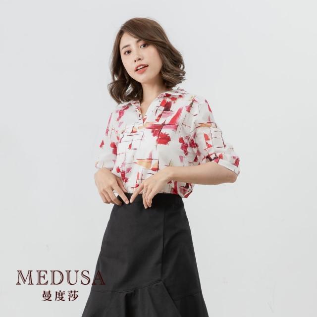 【MEDUSA 曼度莎】短版十字暈染純棉襯衫(M-2L) 上班穿搭 職場穿搭 百搭上衣(601-19101)