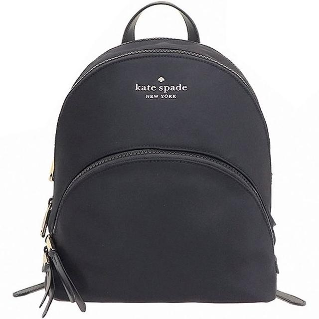 【KATE SPADE】Karissa黑色尼龍中款前口袋雙拉鍊後背包