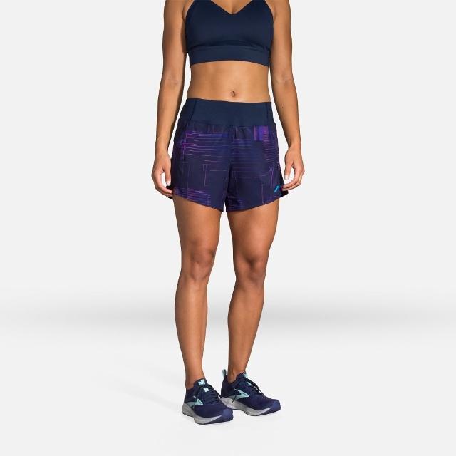 【BROOKS】女 Chaser 5吋慢跑短褲_矩陣海軍藍印花(221465436)