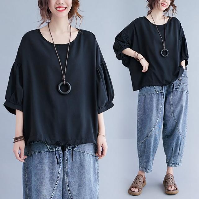 【Keer】日系休閒黑色寬鬆抽繩蝙蝠袖上衣-F
