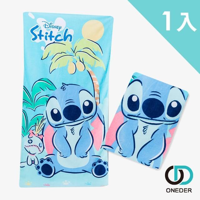 【ONEDER 旺達】迪士尼史迪奇純棉大浴巾-03(正版授權商品附防偽雷射標籤)