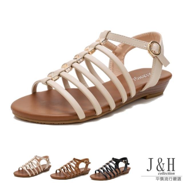 【J&H collection】時尚細帶金色裝飾平底羅馬涼鞋(現+預 黑色 / 米色 / 棕色)