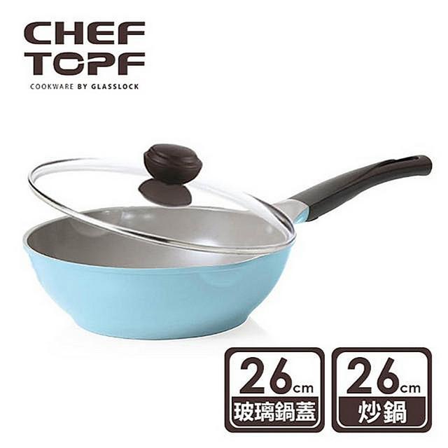 【Chef Topf】La Rose薔薇玫瑰系列26公分不沾炒鍋(附玻璃蓋)