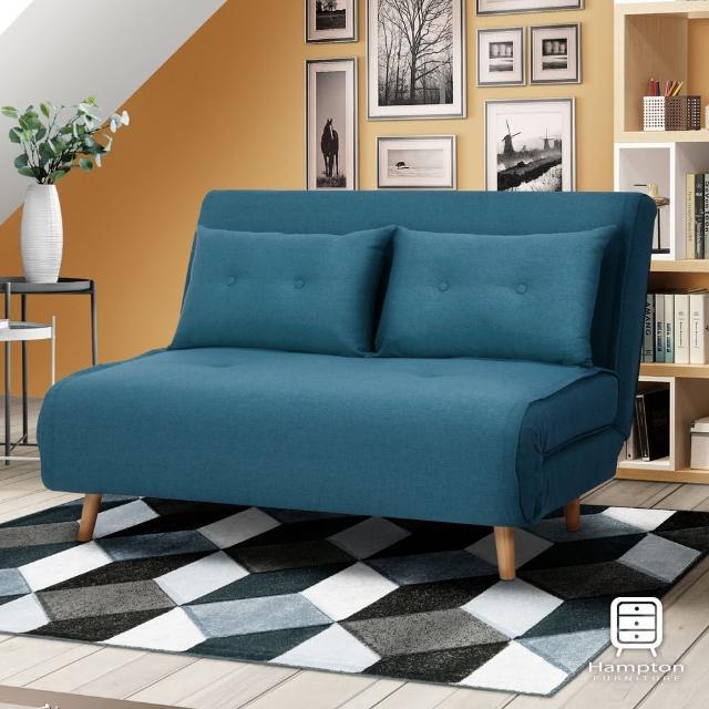 【Hampton 漢汀堡】莉維雅拉扣雙人沙發床-多色可選(一般地區免運費/無扶手/布面沙發床)