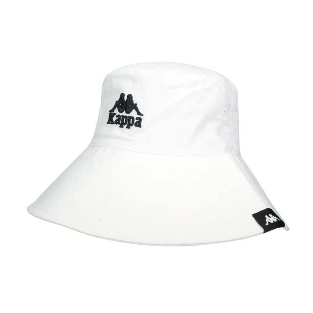 【KAPPA】漁夫帽-純棉 防曬 遮陽 運動 帽子 白黑(32186JW-001)