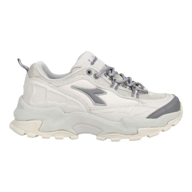 【DIADORA】女戶外野趣越野鞋-E寬楦-防水 登山 運動 避震 淺灰深灰(DA31628)