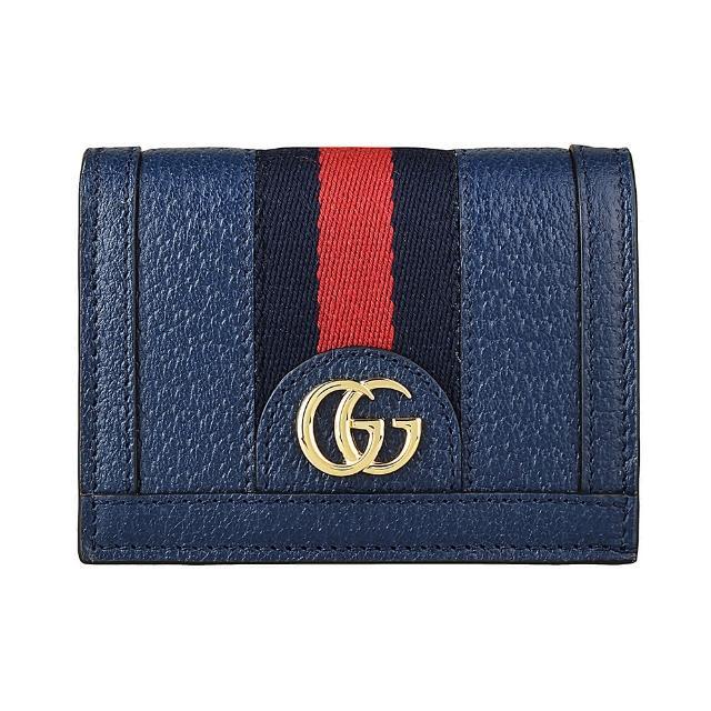 【GUCCI 古馳】GUCCI OPHEDIA經典藍紅藍織帶設計豚皮6卡扣式短夾(深藍)