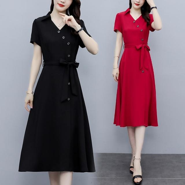 【KVOLL】端莊大方斜襟排釦A字版型腰綁帶洋裝L-5XL(共二色)