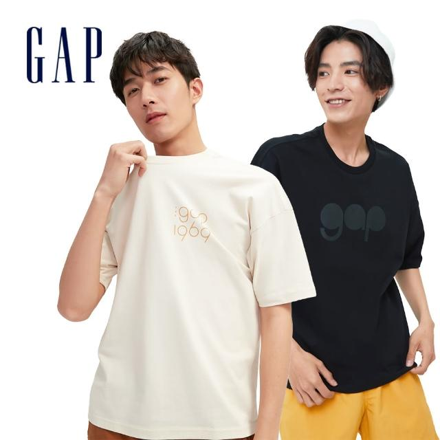 【GAP】男女裝 Logo純棉圓領短袖T恤(多色可選)