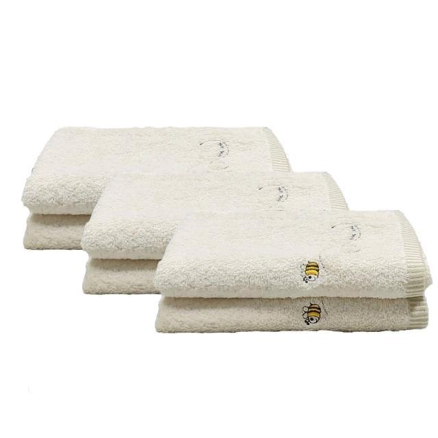 【台灣興隆毛巾】繡蜜蜂有機棉毛巾-6入單色(毛巾)