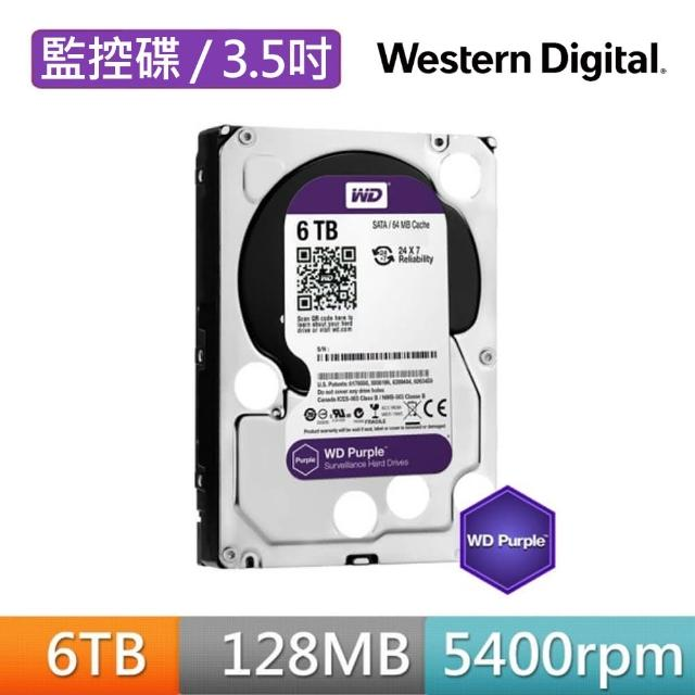 【搭SanDisk 128GB 記憶卡】WD 威騰 紫標 6TB 監控專用 3.5吋 SATA硬碟(WD62PURZ)