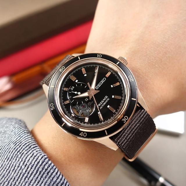 【SEIKO 精工】PRESAGE 鏤空 機械錶 自動上鍊 尼龍帆布手錶 黑x玫瑰金框x咖啡 41mm(4R39-00Z0U.SSA426J1)